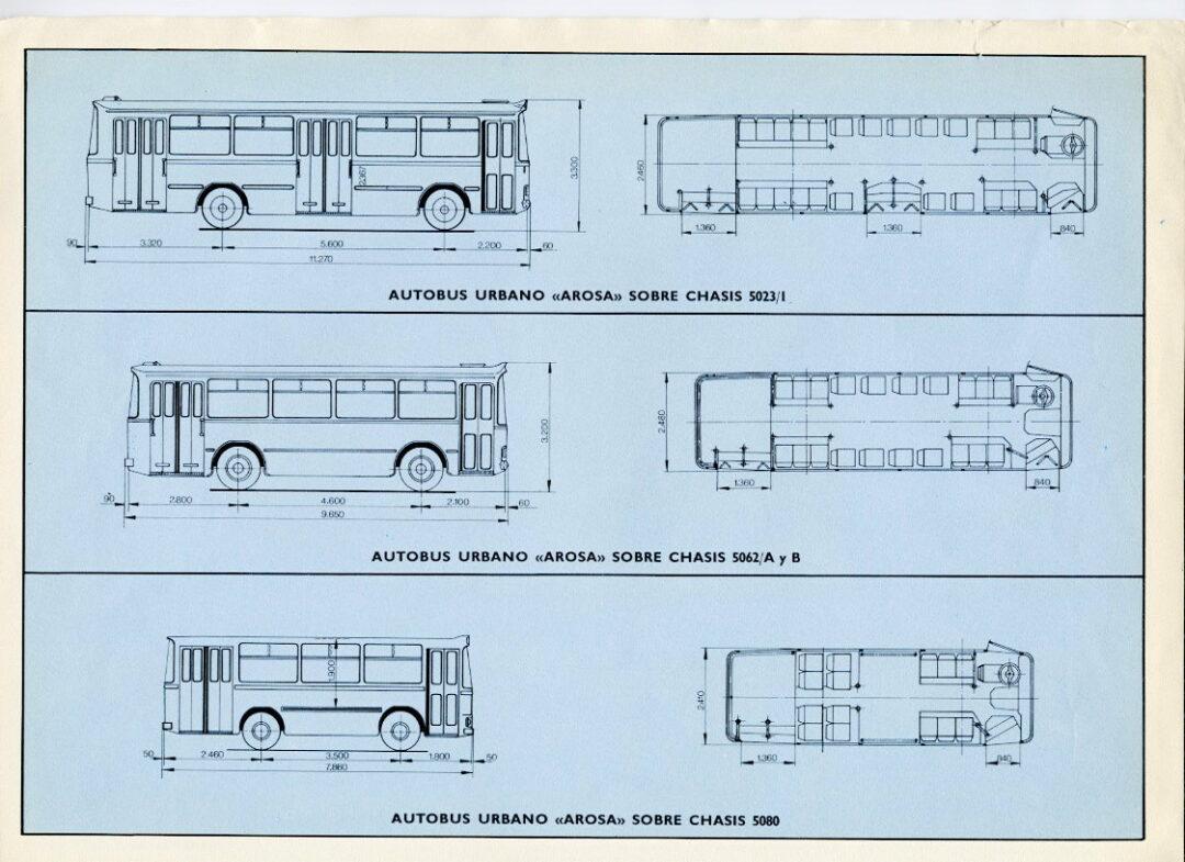 Carrocería histórica autobús urbano Arosa