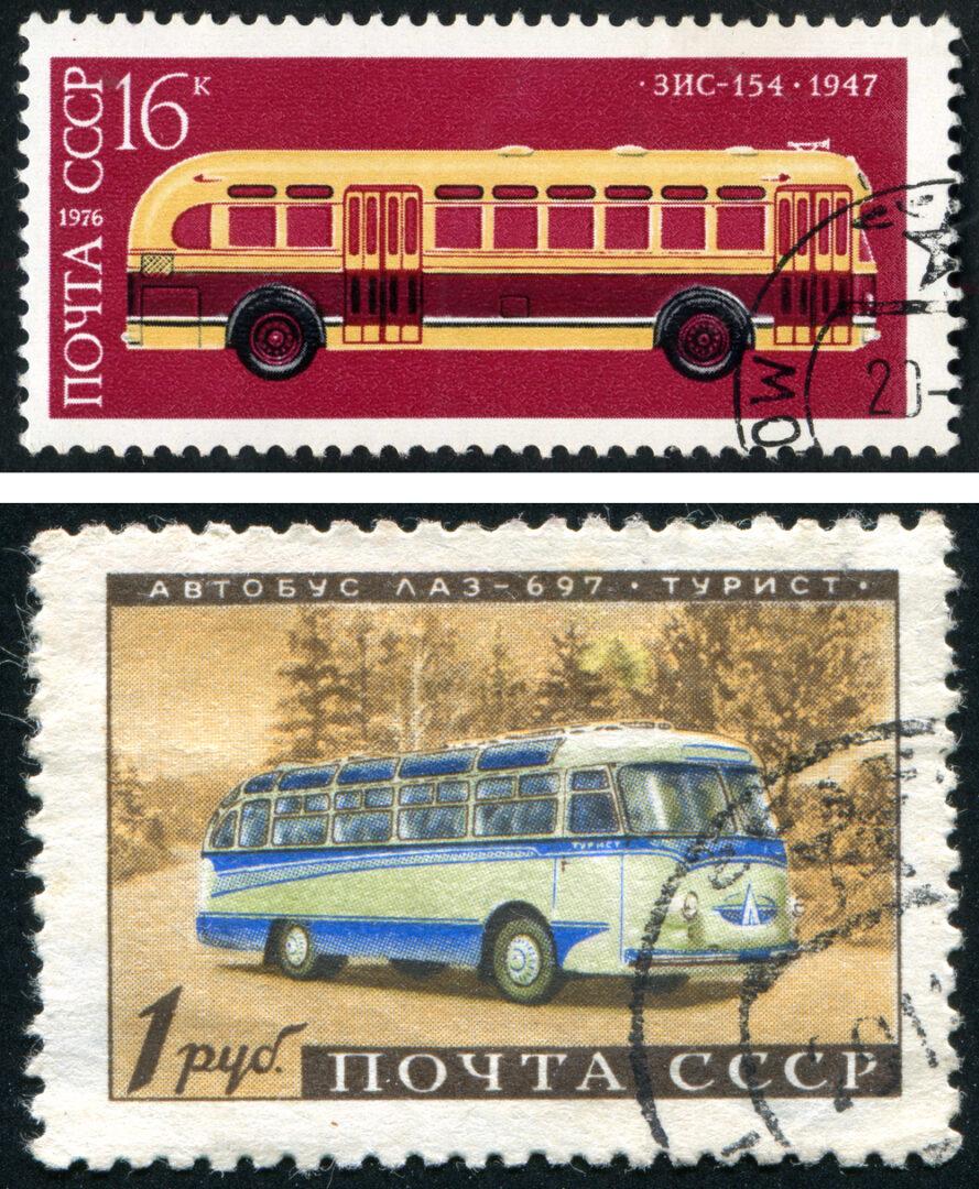sellos de colección con autobuses históricos