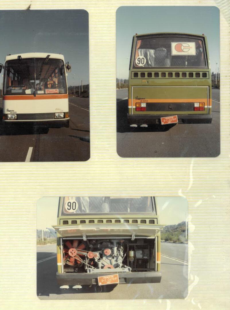 Imagen frontal y trasera de los focos y el motor del modelo Brisa carrozado por Castrosua