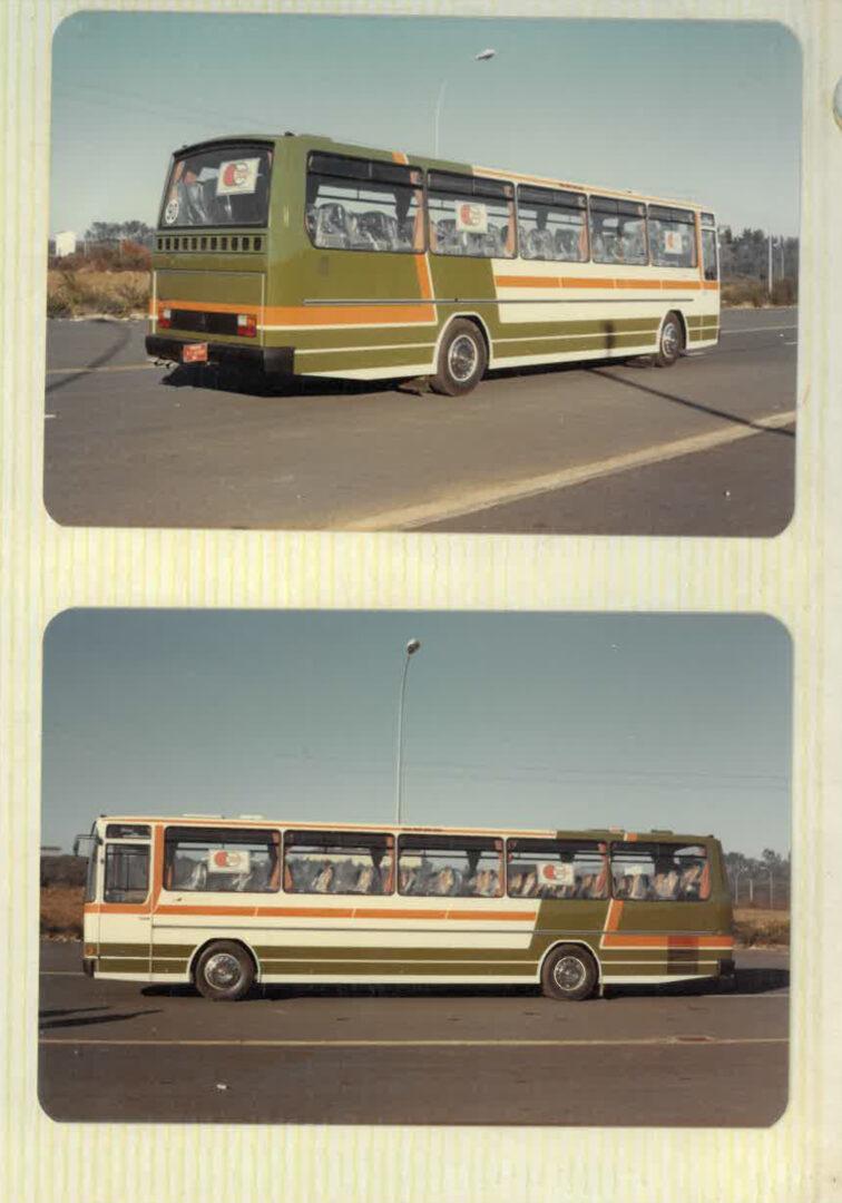 Dos imágenes laterales del modelo Brisa carrozado por Castrosua
